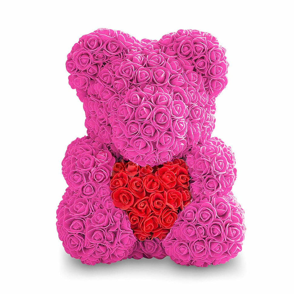 Мишка из роз с сердцем розовый